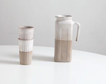 White Speckled Pitcher, handmade pitcher ceramic carafe