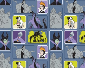 "Disney Fabric Villains Fabric Wicked Women Blue From Camelot 43"" Wide 100% Cotton"