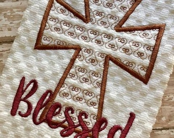 Blessed - Cross - Applique - 2 Different Motif Fill Styles - DIGITAL Embroidery Design