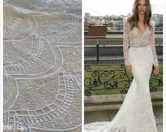 1 Yard Off- White Beaded Sequin Lace Fabric,High Quality Ivory Bridal Beaded Dress,Wedding Dress ,French Lace Fabric, Houte Couture Fabric,