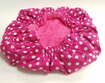 Pink Polka Dot Deep Conditioning Cap, Deep Conditioning Bonnet, Thermal Bonnet, Thermal Conditioning Cap
