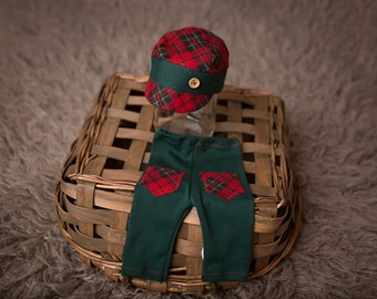 "Newborn Boy Pants and Hat Set - ""Nicholas""  green and red newborn outfit. Christmas, holiday, Newborn boy photo outfit, Newborn photo prop"