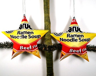 Handmade Beef Ramen Noodle Aluminum Stars - 2 Recycled Christmas Ornaments or Gift Toppers - Great Foodie Gift