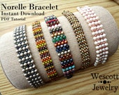 Beadweaving Pattern for Norelle Bracelet Cuff with Druks or Swarovski Pearls, Fire-Polished Crystal, and Seed Beads