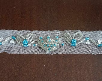 Silver and blue hand beaded tulle headband