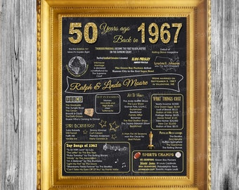 50th Anniversary Decoration, 50th Anniversary Gifts for Parents, Chalkboard Poster Sign Party PRINTABLE 1967 Poster Ideas Marriage Props