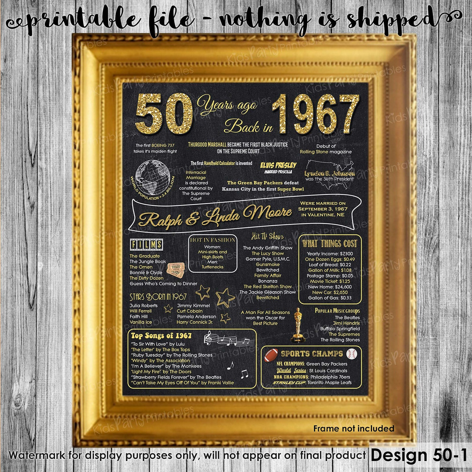 Gift Ideas For 50th Wedding Anniversary For Parents: 50th Anniversary Decoration 50th Anniversary Gifts For