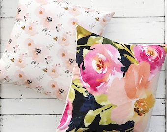 Floral Blooms Modern Throw Pillow Cover