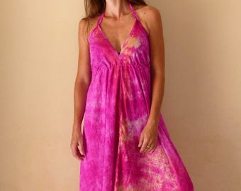 Long dress pink summer ethnic tie and dye, bare back