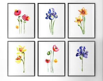 Flower watercolor painting set of 6, Botanical art, Floral print, Bright color wall art, Bedroom art, Living room art, Iris daffodils poppy
