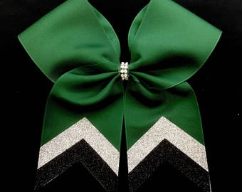Forest Green glitter v tail bow