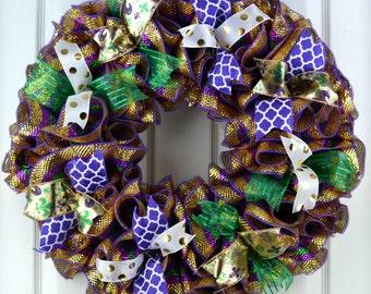 Mardi Gras decor - Mardi Gras wreath - Mardi Gras Party - Deco mesh wreath - Fat Tuesday wreath - Mardi Gras party - New Orleans wreath