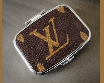Pill box / eye lash box / (new) covered with genuine LOUIS VUITTON  Recycled material little box to keep little things for your purse USA