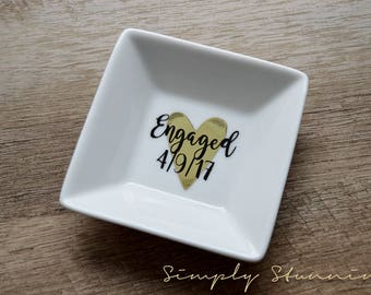 Personalized Ring Dish, engaged, wedding gift, engagement gift, Jewelry dish, bride to be, future mrs. all the days of my life