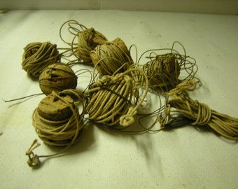 7 vintage fishing lines-cork bobbers-lines and hooks-fishermen-display-crafts-art-rustic-primitive-salvage-