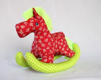 Rocking Pony, baby horse, Plush, Baby - Colorful, Cute, Baby Shower, Cotton Fabric, Fluorescent Yellow/Green, Red, Floral Pattern