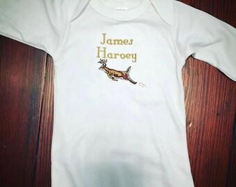 Monogrammed Baby Boy Gown - Deer