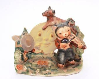 Hey Diddle Diddle Cat and Fiddle, Vintage Lefton Ceramic Figurine Lefton Nursery Rhyme Series, Dish Ran Away Spoon, Cow Jumped Over Moon
