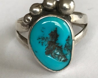 Turquoise Bear Claw Ring Sz 6 Zuni 925 Sterling Silver Vintage Native Southwestern Tribal Jewelry Birthday Mother's Anniversary Gift Tribal
