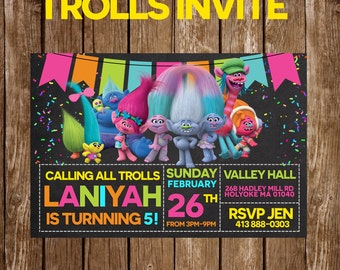 Trolls party invitation