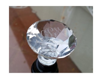 Crystal Wine Stopper - Monogrammed - Engraved - Personalized