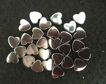 Vintage Hematite 12mm Heart Beads