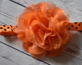 Orange Black Flower Headband Hair Bow