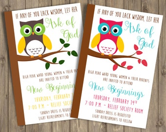 New Beginnings 2017 Invitation, 4x6, Owl, CUSTOMIZED Printable Invitation, Ask of God, YW 2017 Theme