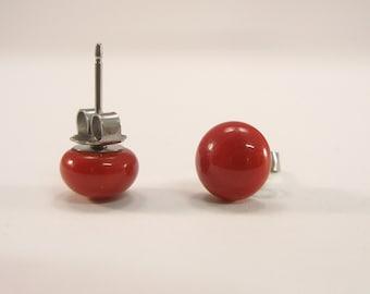 Murano Glass red  stud earrings, fused glass ear post, surgical steel, dot earrings, color 16