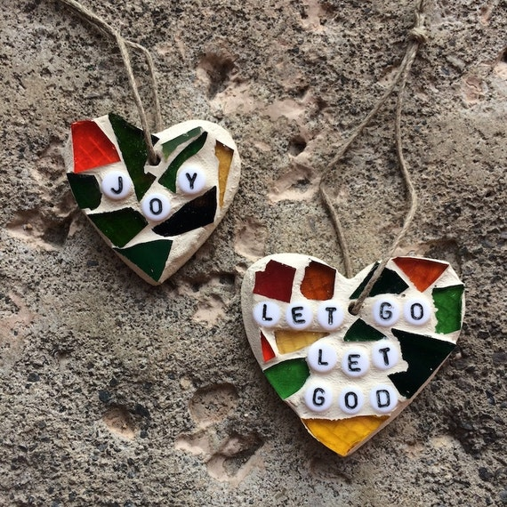 Stained Glass Mosaic Joy/Love/Let Go Let God Ornaments Hangings Made in Hawaii Deesigns by Harris Free Gift Wrap