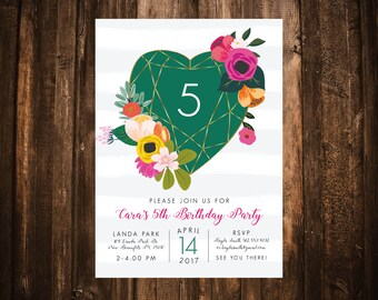 Bright Geo Floral Birthday Invitation; Printable or set of 10
