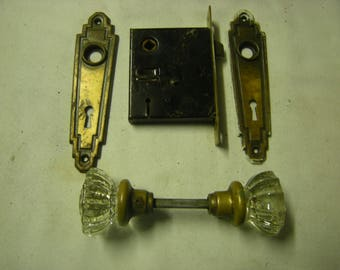 vtge mortise lock-complete lock-glass doorknobs-2 escucheons-no key-hardware-salvage-home improvement-replacement-