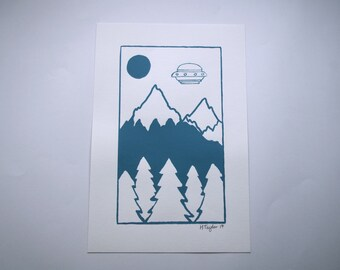Hand Printed UFO Landscape Screen Print - PRINT ONLY - 153x230mm