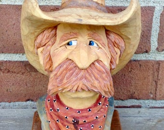 Handcarved basswood Cowboy Bust