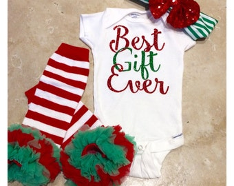 Best gift ever onesie, christmas onesie, baby girl onesie, baby boy onesie, take home outfit