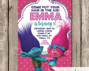 Trolls Birthday Invite - Branch and Poppy Birthday Invites - Trolls Birthday Party - Pink and Blue Trolls Invites - Put Your Hair In The Air