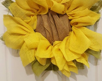 Sunflower Burlap Wreath