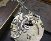 Steampunk jewelry- Engraved Pocket Watch necklace, artistic Steampunk Necklace - The Victorian Magpie