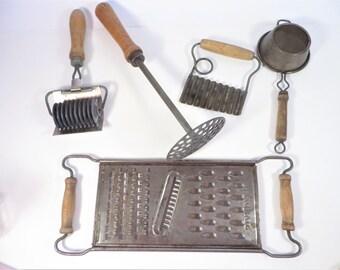Set of 5 Mid Century Wood Handled Kitchen Tools - 5 Wood Handled Kitchen Utensils