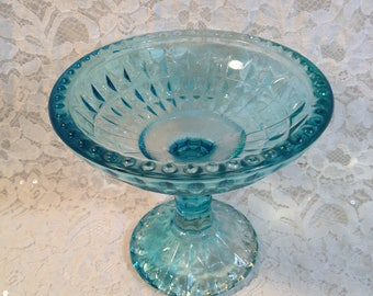 Jeannette Glass Company Flashed On Aqua Blue Diamond Pattern Compote, Hobnail Rim and Base, Turquoise Candy Dish.
