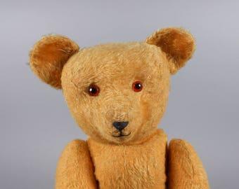 Antique German Mohair Teddy Bear Gold circa 1920's Excelsior Stuffed