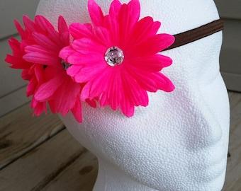Neon Pink Flower Crown Headband