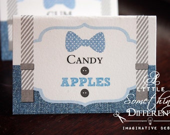 Bowtie and Suspender Tent Cards / Denim and Overall Tent Cards / Baby Boy Tent Cards / Candy Buffet Tent Cards