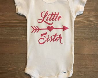 Little Sister baby onesie PregnancyAnnouncement//Hearts//BabyGirl//Love//Arrow