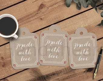 Printable made with love tags,DIY gift tags,craft paper tags,print and cut tags