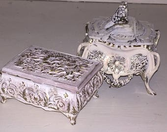Reclaimed Vintage French Rococo Revival Lidded Trinkets, Silver Plate, Shabby Chic Jewellery Box, Hand Painted