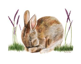 Rabbit Art, Woodland Nursery, Baby Bunny, Nursery Art, Rabbit Watercolor Print, Woodland Art, Baby Room Decor, Bunny Nursery, Purple