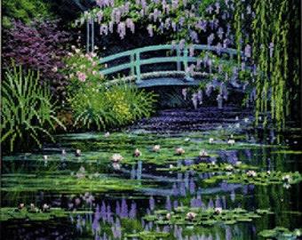 Monet's Japanese Bridge needlepoint kit (floss)