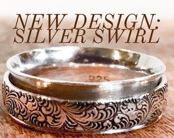 Silver Meditation Ring ~ Silver Spinner Ring ~ Silver Fidget Ring with Silver Swirl Spinner