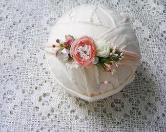 SPRING - Newborn headband, Photography prop, Newborn halo, Newborn crown, Newborn floral tieback,Baby accesories
